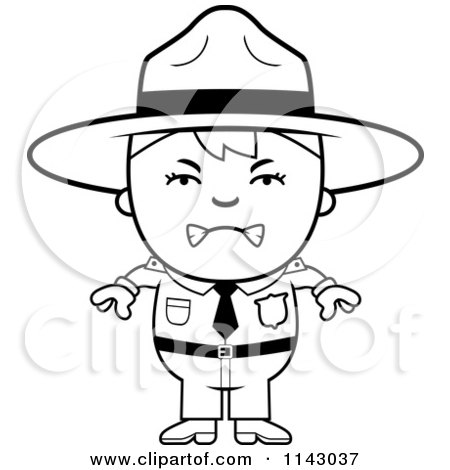 Cartoon Clipart Of A Black And White Mad Forest Ranger Boy