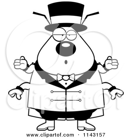 Cartoon Clipart Of A Black And White Happy Dancing Flea