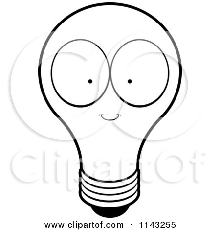 Cartoon Clipart Of A Black And White Bright Lightbulb with