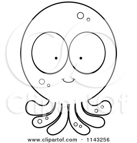 Cartoon Clipart Of A Black And White Goofy Octopus