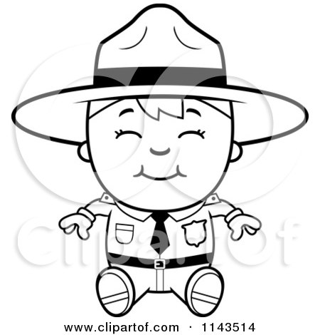 Cartoon Clipart Of A Black And White Happy Forest Ranger