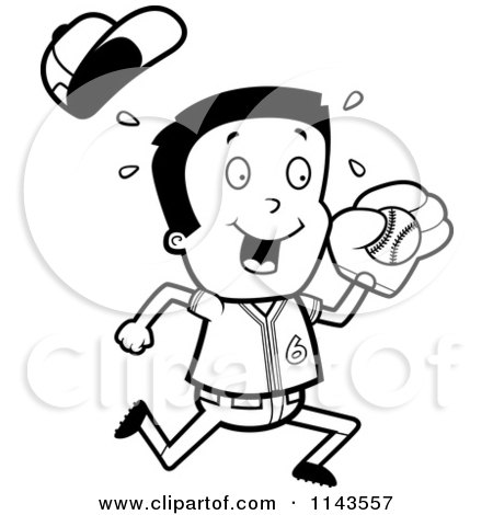 Cartoon Clipart Of A Black And White Little League