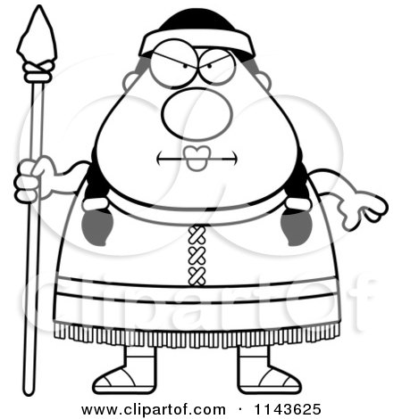 Cartoon Clipart Of A Black And White Chubby Native