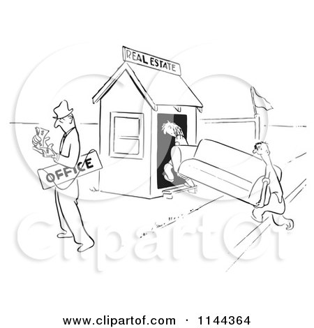 Cartoon of a Black and White Real Estate Agent Couting