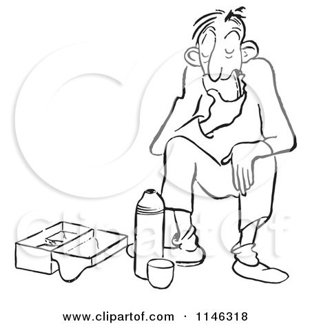 Cartoon of a Black and White Couple Enjoying Donuts and