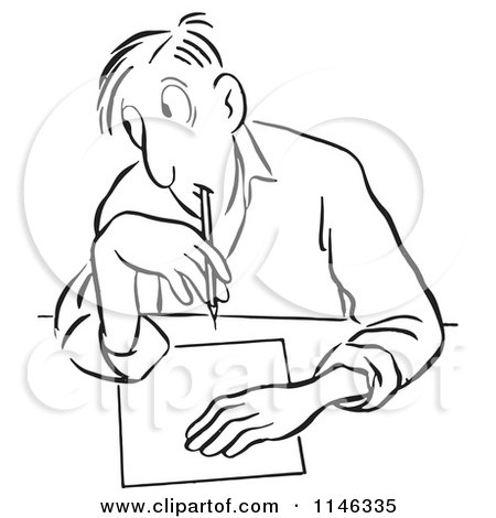 Cartoon of a Black and White Man Glancing to Cheat on a