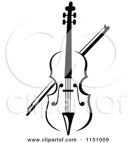 Clipart of a Black and White Viola or Fiddle Violin 2