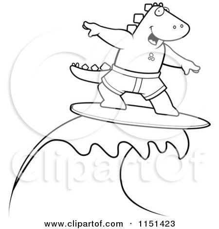 Royalty-Free (RF) Surfing Dinosaur Clipart, Illustrations