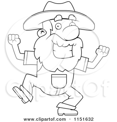 Cartoon Clipart Of A Black And White Happy Prospector Man