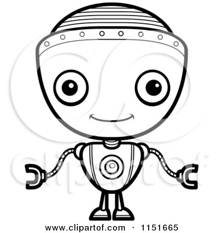 Cartoon Clipart Of A Black And White Friendly Robot Boy