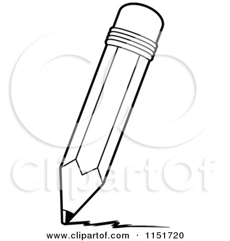 Cartoon Clipart Of A Black And White Pencil Writing