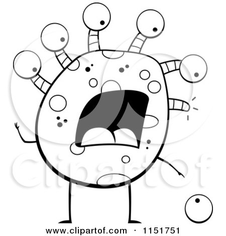 Cartoon Clipart Of A Black And White Pair of Eyes Running