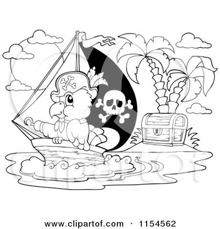 Cartoon of an Outlined Pirate Parrot by a Treasure Island