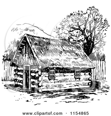 Retro Vintage Black and White Log Cabin Posters, Art
