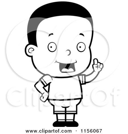 Cartoon Clipart Of A Black And White Cute Little Black Boy