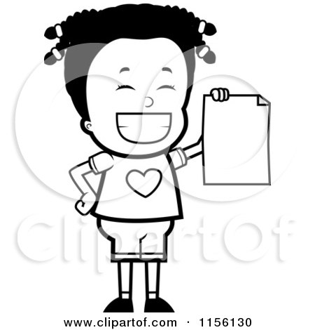 Cartoon Clipart Of A Black And White Black Girl Holding up