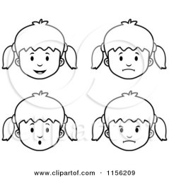 Cartoon Clipart Of Black And White Girl Faces Vector Outlined Coloring Page by Cory Thoman #1156209