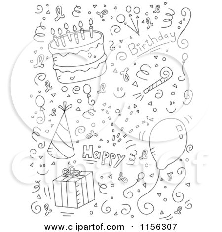 Cartoon Clipart Of A Black And White Birthday Collage of
