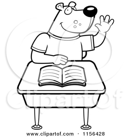 Cartoon Clipart Of A Black And White Student Bear Raising