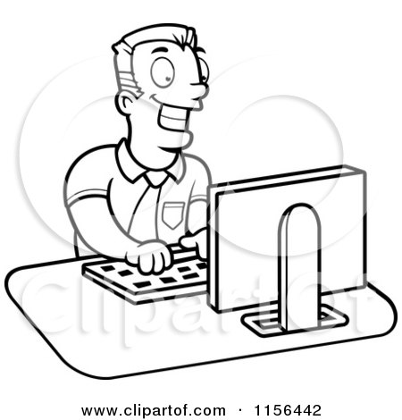 Cartoon Clipart Of A Black And White Businessman Working