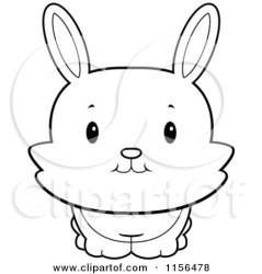bunny rabbit cute clipart cartoon baby coloring front outline looking vector thoman cory royalty illustrations outlined cliparts rf illustration preview