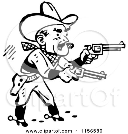 Clipart Retro Black And White Rodeo Cowboys On Bucking