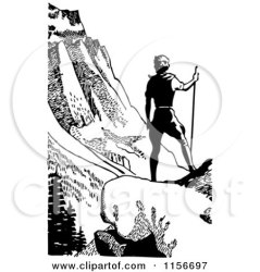 clipart retro hiking mountain hiker wilderness mountains couple vector royalty male bestvector illustration valley graphics rf viewing illustrations clipartof