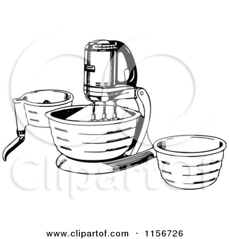 Clipart of a Black and White Retro Housewife Carrying a