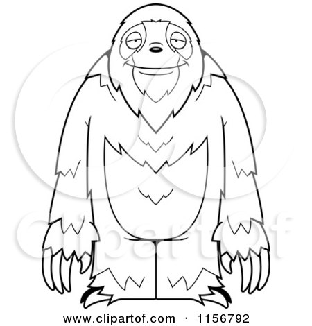 Cartoon Clipart Of A Black And White Standing Sloth