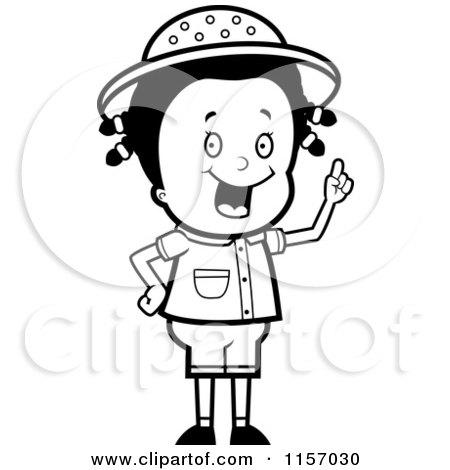 Cartoon Clipart Of A Black And White Smart Safari Girl