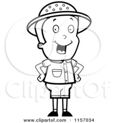 boy safari cartoon standing clipart coloring hands hips cory thoman energetic outlined vector