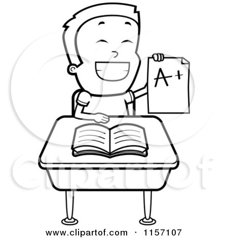 Cartoon Clipart Of A Black And White Smart School Boy