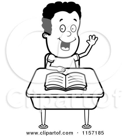 Clipart Smart School Boy Raising His Hand At A Desk