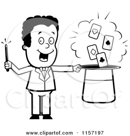 Cartoon Clipart Of A Black And White Magician Doing a Card