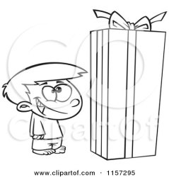 box christmas gift boy clipart cartoon standing coloring vector toonaday outlined leishman ron regarding notes illustration