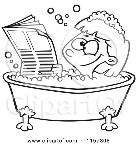 Cartoon Clipart Of A Black And White Happy Girl Reading