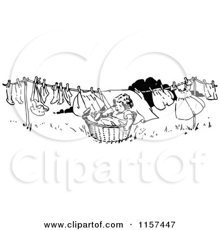 Cartoon of a Clothesline with Baby Socks Drying in the Sun