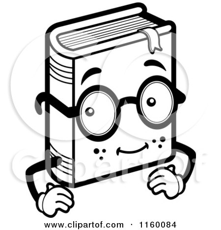 Cartoon Clipart Of A Black And White Book Character