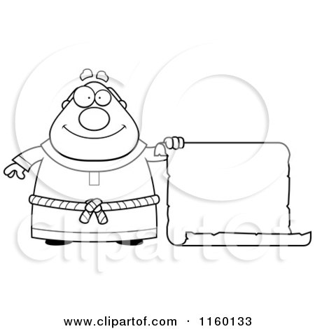 Cartoon Clipart Of A Black And White Plump Monk Holding