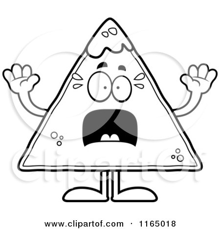 Cartoon Clipart Of A Scared TORTILLA Chip with Salsa