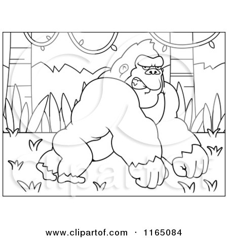 Cartoon Clipart Of AMad Gorilla in a Jungle, Leaning