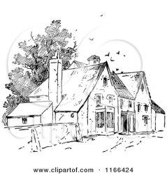 clipart village houses birds retro illustration vector royalty prawny swirls bird clipground