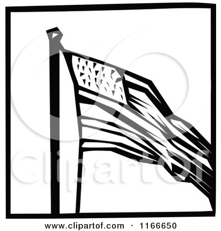 Clipart of a Retro Vintage Black and White American Flag Icon