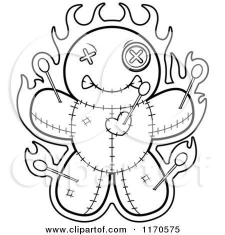 Royalty-Free (RF) Black And White Voodoo Doll Clipart