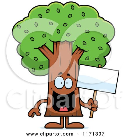 Cartoon Clipart Of A Happy Tree Mascot Vector Outlined