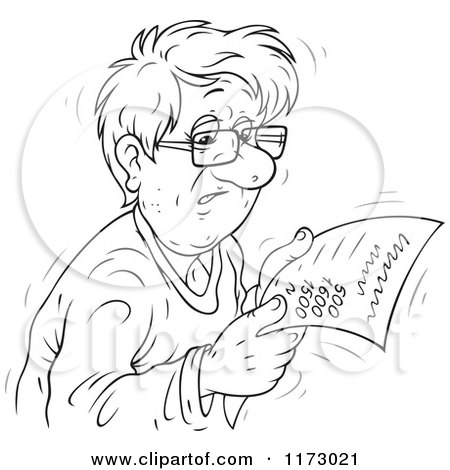 Cartoon of a Sketched Black and White Worried Man Reading