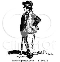standing boy clipart retro illustration royalty prawny vector