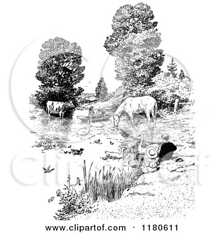Clipart of a Retro Vintage Black and White Pond Scene with