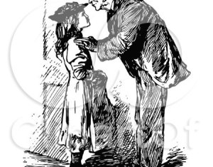 Clipart Of A Retro Vintage Black And White Grandfather