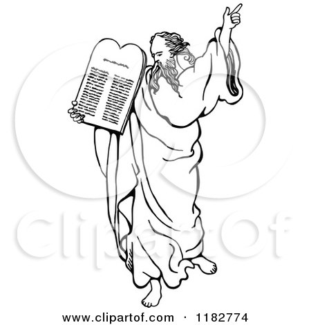 Clipart of the Prophet Moses Standing with a Staff